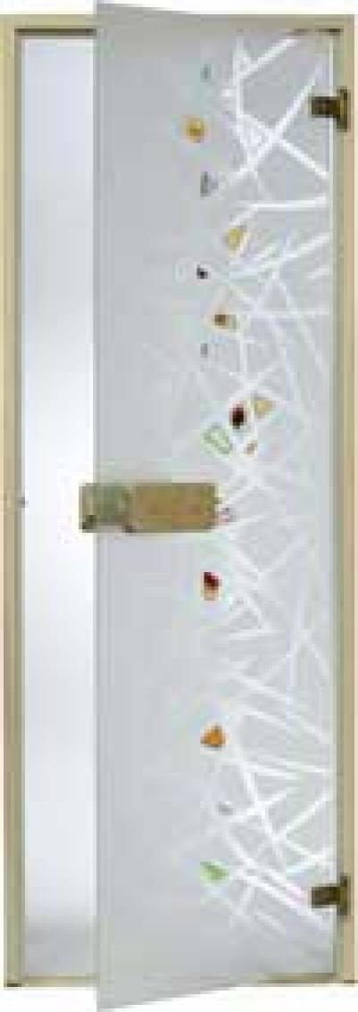 Дверь стеклянная, коробка 7х19 осина, фьюзинг, пескоструй, Лед, стекло: бронза, серое, прозрачное