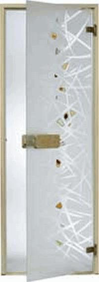 Дверь стеклянная, коробка 7х19 осина, фьюзинг, пескоструй, Лед, стекло: сатин, матированная бронза