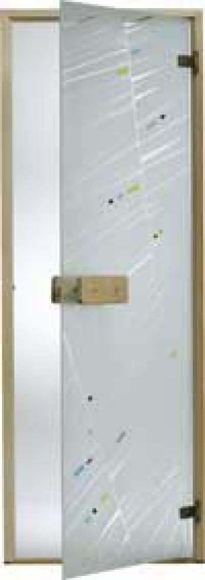 Дверь стеклянная, коробка 7х19 осина, фьюзинг, пескоструй, Лучи, стекло: бронза, серое, прозрачное
