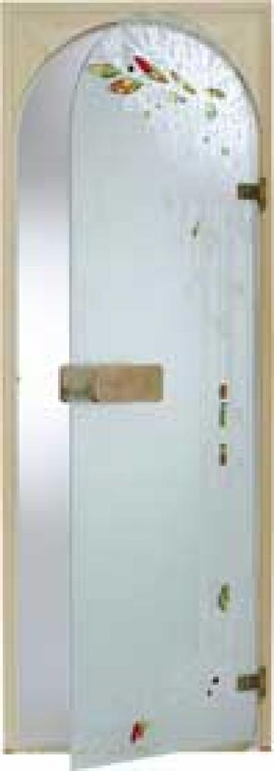 Дверь стеклянная, коробка 7х19 осина, фьюзинг, пескоструй, Весна, стекло: бронза, серое, прозрачное
