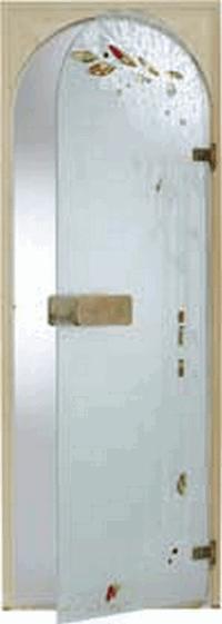 Дверь стеклянная, коробка 7х19 осина, фьюзинг, пескоструй, Весна, стекло: сатин, матированная бронза