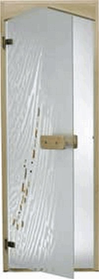Дверь стеклянная, коробка 7х19 осина, фьюзинг, пескоструй, Ветер, стекло: сатин, матированная бронза