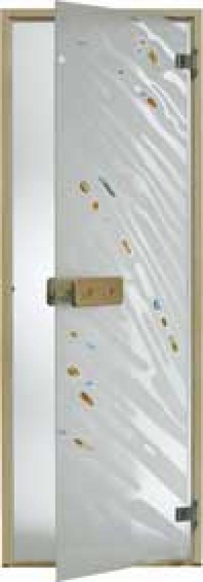 Дверь стеклянная, коробка 7х19 осина, фьюзинг, пескоструй, Зебра, стекло: бронза, серое, прозрачное