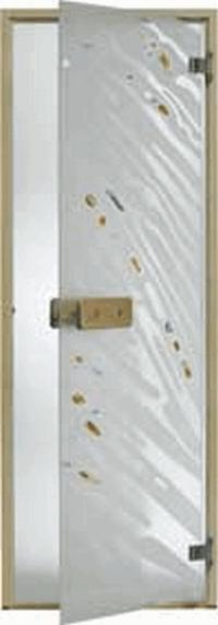 Дверь стеклянная, коробка 7х19 осина, фьюзинг, пескоструй, Зебра, стекло: сатин, матированная бронза