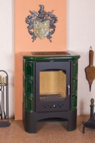 Печь-камин EcoKamin Бавария изразец Арка зеленая