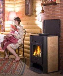 Печь-камин EcoKamin Бавария с плитой и теплообменником чугунная