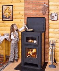 Печь-камин EcoKamin Бавария с плитой и духовым шкафом