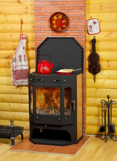 Печь-камин EcoKamin ПК 140 Бавария ПРИЗМАТИК с плитой + т/о NEW (футерован литьевым шамотом+ вторичный дожиг)