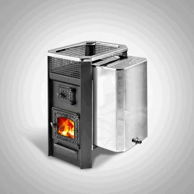 Дровяная печь для бани Радуга ПБ-11Б (навесной бак 45 л, стеклянная дверь), 6 мм сталь