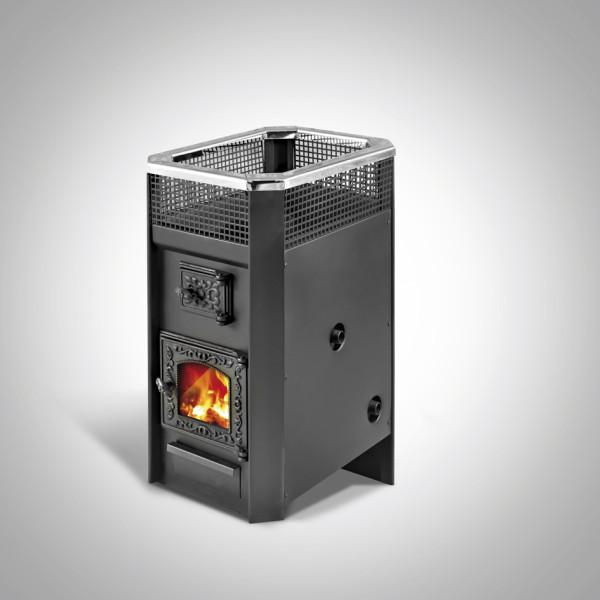 Дровяная печь для бани Радуга ПБ-11 (встроенный теплообменник, стеклянная дверь), 6 мм сталь