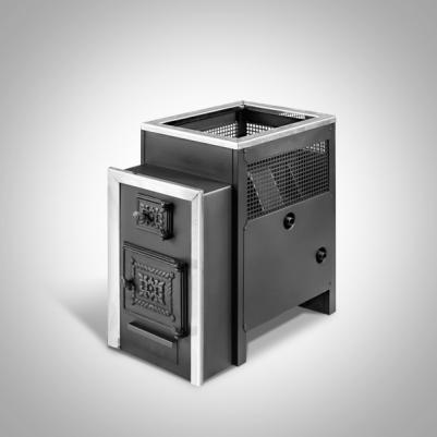 Дровяная печь для бани Радуга ПБ-21 (встроенный теплообменник, стеклянная дверь), 6 мм сталь