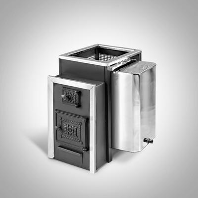 Дровяная печь для бани Радуга ПБ-22Б (навесной бак 45л, стеклянная дверь), 6 мм сталь
