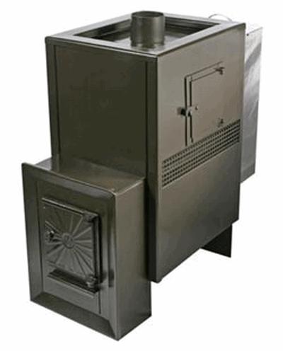 Дровяная печь для бани Радуга ПБ-23Б (навесной бак 45л), 4 мм сталь