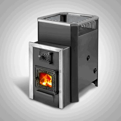 Дровяная печь для бани Радуга ПБ-22 (встроенный теплообменник, стеклянная дверь), 6 мм сталь
