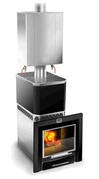 Печь дровяная для бани Теплодар  РУСЬ 22-ЛНЗП Панорама кожух конвектор с парообразователем ,   4607151291149