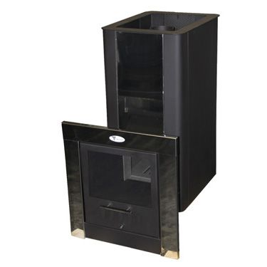 Печь банная ТОРНАДО 18М2, ТО, МД (стальной кожух, длинный тунель, дверь со стеклом металлическая, Т/О)