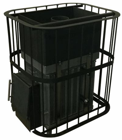 Печь ТОРНАДО МИНИ 20М1 П МД (без закрытой каменки, прутковая сетка, короткий тунель, дверь глухая металлическая)