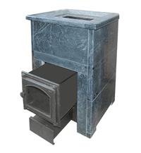 Дровяная печь для бани ВзЗУВИЙ Премиум 22 КВ в талькохлориде с выносной топкой и каминной чугунной дверцей