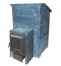 Дровяная печь для бани ВзЗУВИЙ Президент 28 КВ в талькохлориде с выносной топкой и каминной чугунной дверцей