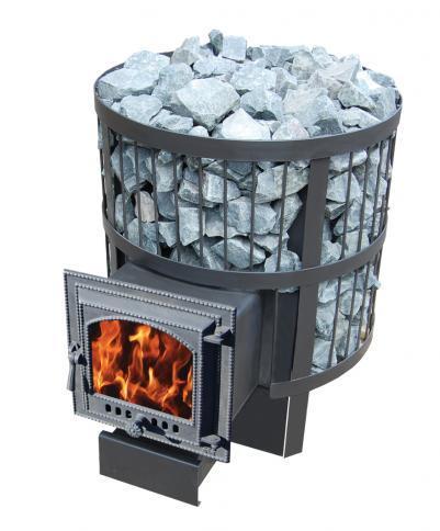 Дровяная печь для бани Везувий СКИФ 28 ВК (220) с выносом и каминной чугунной дверцей