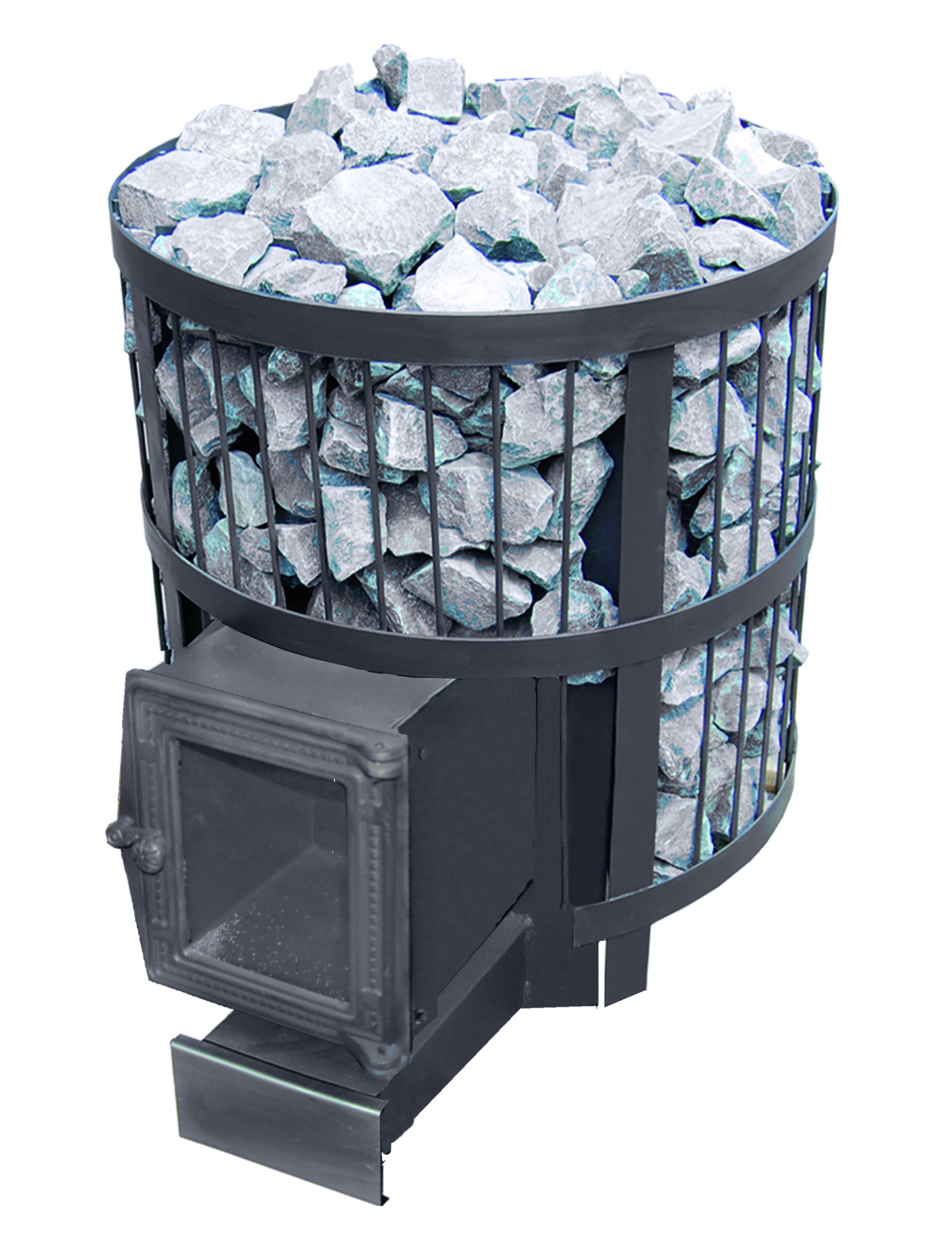 Дровяная печь для бани Везувий СКИФ 22 ВС с выносом и чугунной стеклянной дверцей
