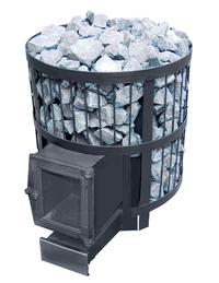 Дровяная печь для бани ВзЗУВИЙ СКИФ 22 ВС с выносом и чугунной стеклянной дверцей