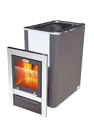 Гори Ясно Дровяная печь для бани VIRA CRYSTAL 18П  Пар по Белому  антрацит.