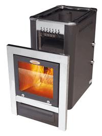 Гори Ясно Дровяная печь для бани VIRA CRYSTAL 18Т с Т/О антрацит.