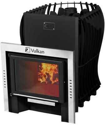 Печь дровяная для бани Вулкан для бани Этна 20 Премиум Панорама