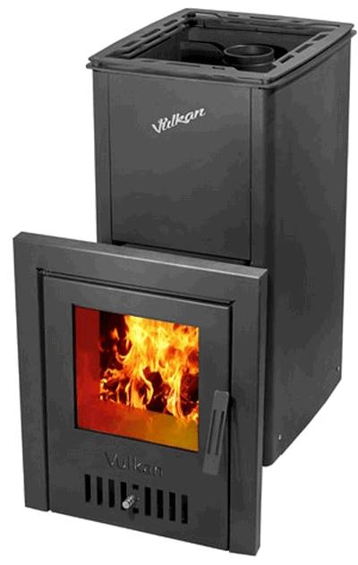 Печь дровяная для бани Вулкан Монблан с кожухом модификация с кожухом