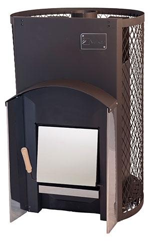 Печь дровяная для бани Вулкан с сетчатым кожухом Прометей 18 Стандарт