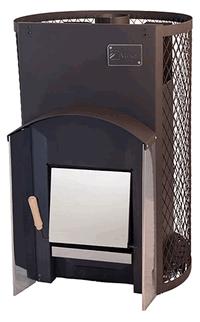 Печь дровяная для бани Вулкан с сетчатым кожухом Прометей 24 Стандарт
