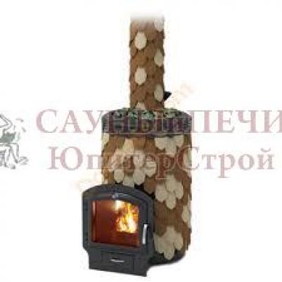 Дровяная печь для бани Термофор Альфа Панголина Inox ЧДБСЭ ЗК шамот- терракота