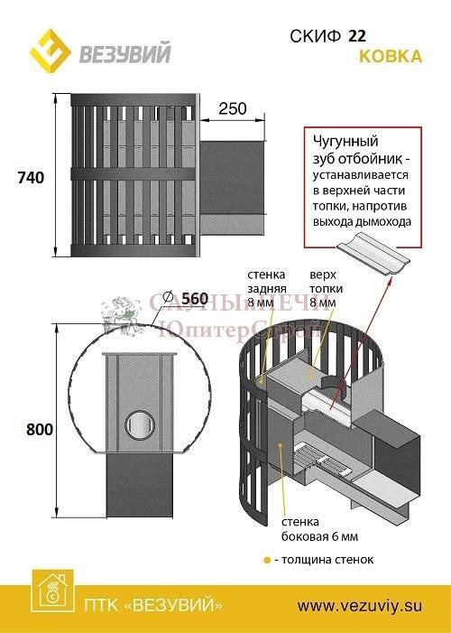 Дровяная печь для бани Везувий СКИФ КОВКА 22 ПАНОРАМА