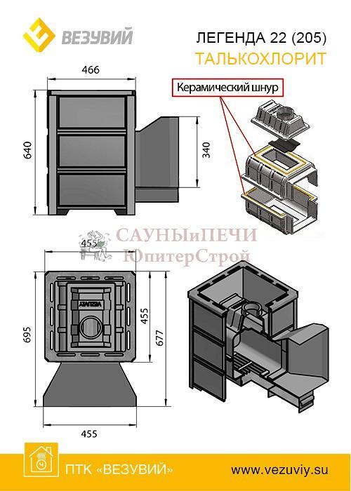 Дровяная печь для бани Везувий ЛЕГЕНДА 16 (224) ТАЛЬКОХЛОР�Т