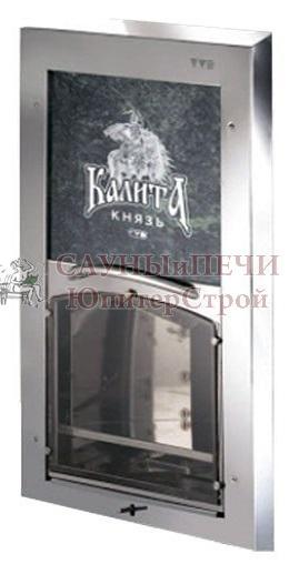 Печь банная Калита Князь, топка чугунная , облицовка змеевик, дверца С вертикальным механизмом открывания