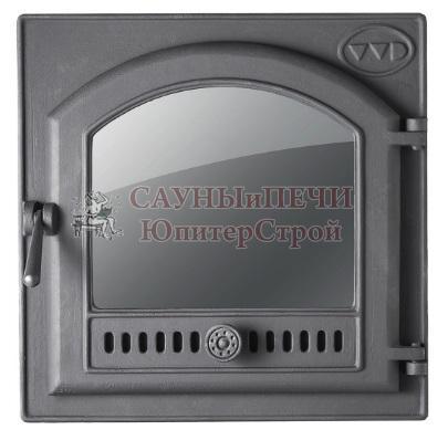 Каминная чугунная дверца с большим арочным стеклом и тоннелем (фин.) для Калиты