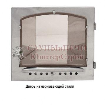 Печь банная КАЛИТА арочная, топка чугунная , облицовка змеевик или талькохлорид, дверца Нержавеющая сталь