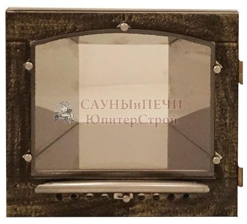 Печь банная КАЛИТА арочная, топка чугунная , облицовка змеевик или талькохлорид, дверца С кованной отделкой