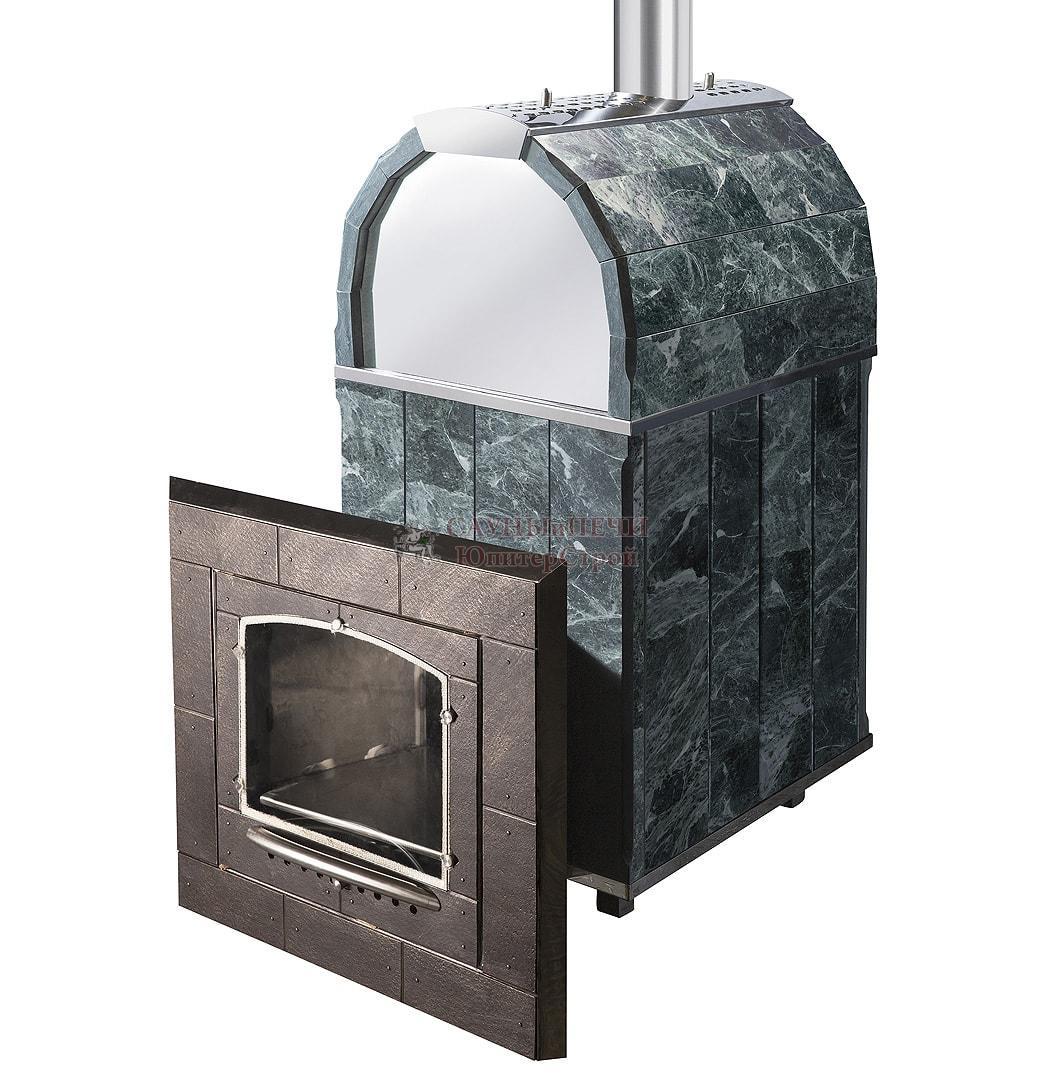 Печь банная КАЛИТА арочная, топка чугунная , облицовка змеевик или талькохлорид, Чугунный тоннель с чугунной дверью