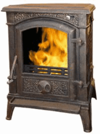 Чугунная печь Harry Flame МОНРЕАЛЬ (патина), 10 кВт.(АМ27-10 Anti-Brass)