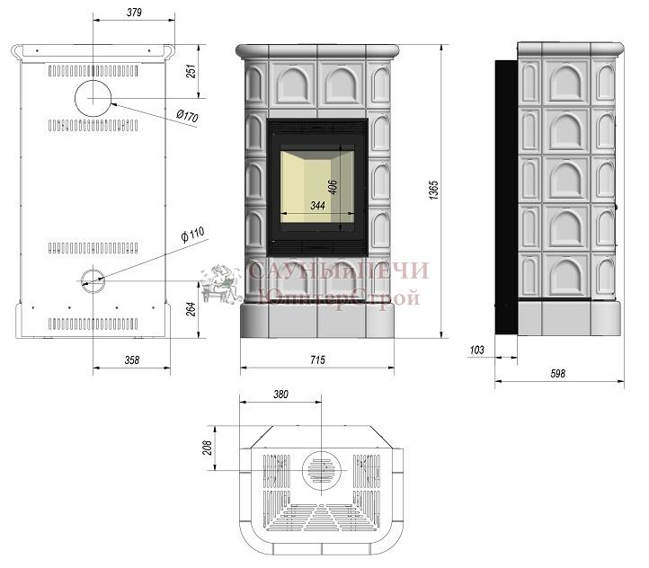 Камин - печь Kratki Blanka 8 kW stove крем/чёрный/белый
