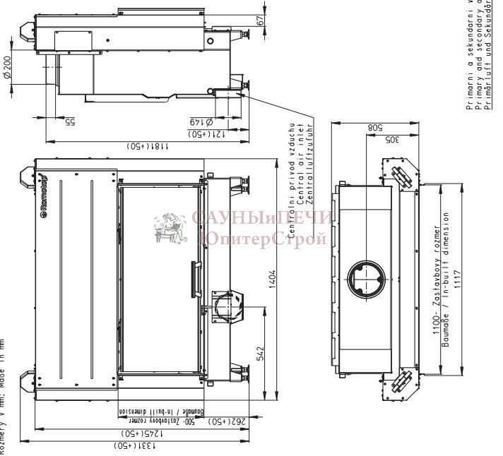 Каминная  Топка HEAT 2G L 110.50.01, AKUM  ROMOTOP, Подъемный механизм дверцы - прямое стекло