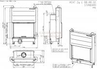 Каминная  Топка HEAT 2G L 88.66.01, AKUM  ROMOTOP, Подъемный механизм дверцы - прямое стекло