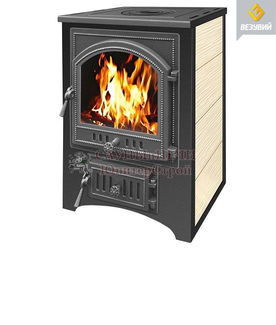 Печь-камин ВЕЗУВИЙ ПК-01 (205) 12 кВт с плитой, красный/бежевый