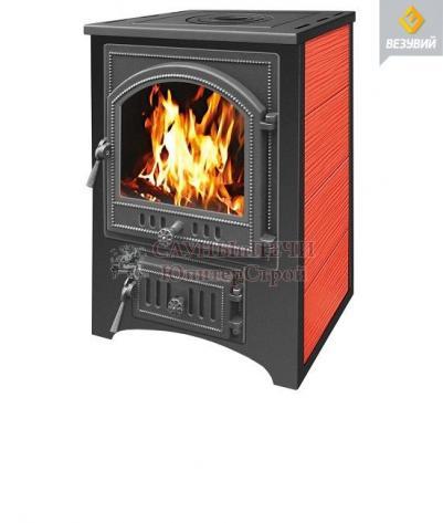 Печь камин Везувий ПК-01 (205) с плитой, красный/бежевый
