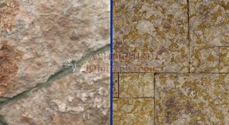 Камень ИЗВЕСТНЯК СЕРО-СИРЕНЕВЫЙ, ЖЕЛТО-МЕДОВЫЙ, СЕРЫЙ, толщина 3-5 см