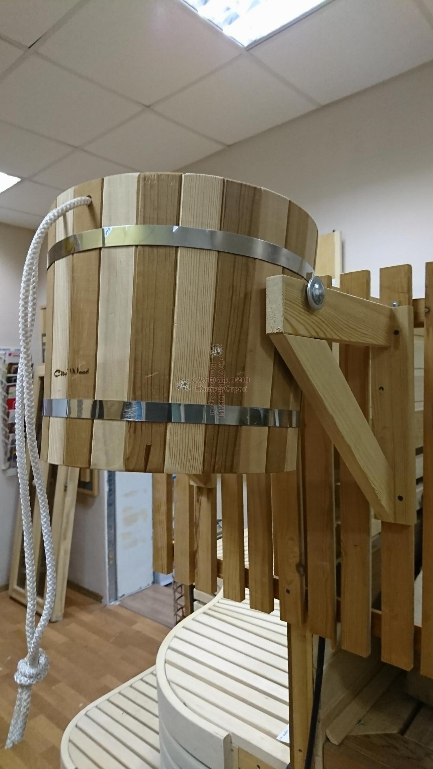 Ведро обливное, 20 л материал-лиственница/термодревесина с пласт вставкой