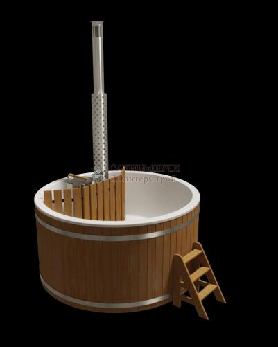 Купель композитная элит 220 х 110 см, сосна,с внутренней печью из нержавеющей стали, kfp220s