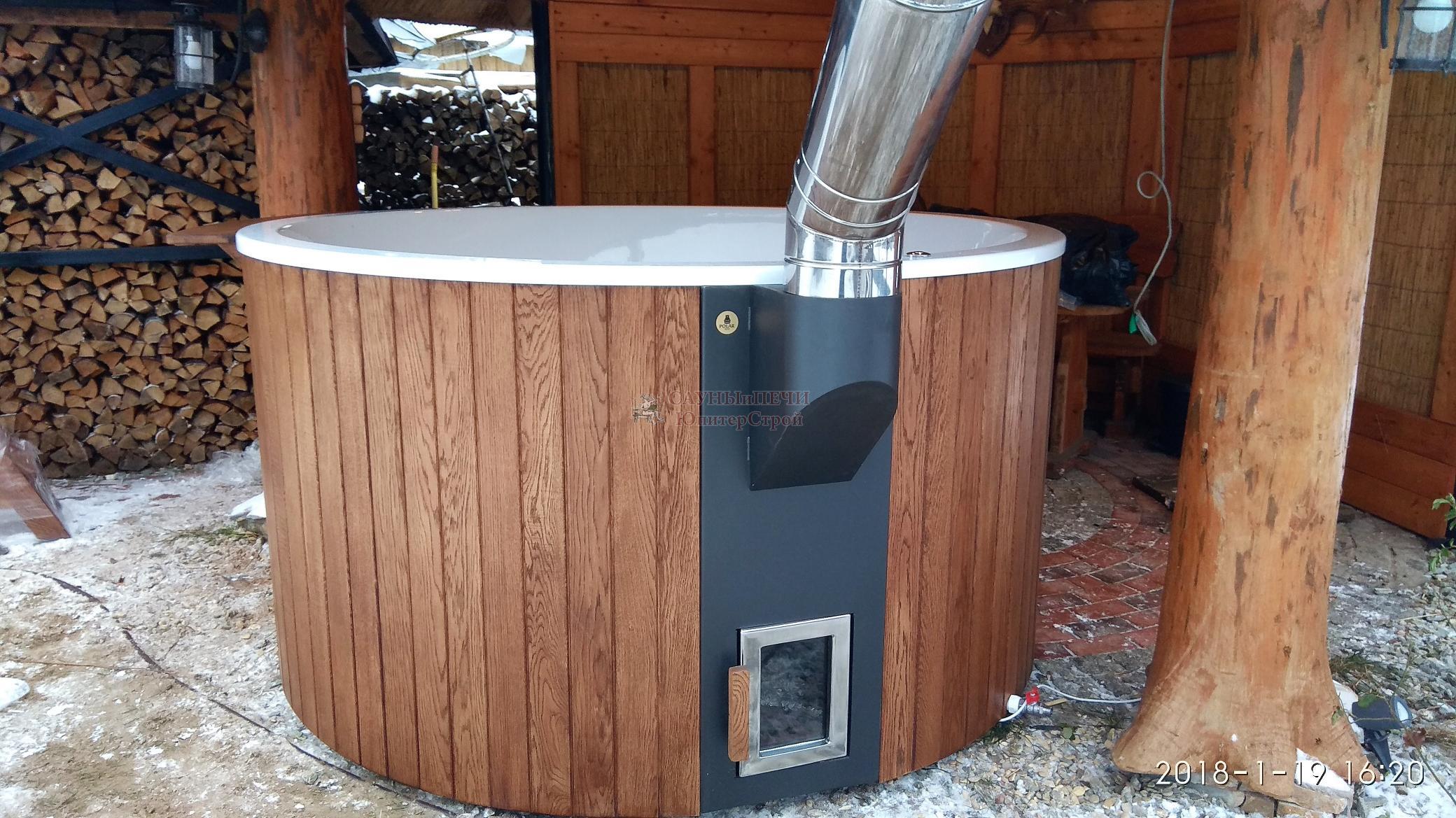 Купель композитная элит 220 х 110 см, дуб,с внешней печью из нержавеющей стали, kfe220d